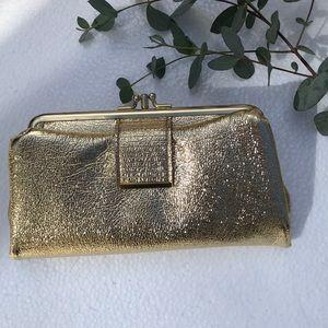 💛Vintage MOD Gold Snap Fold-Over Wallet Clutch